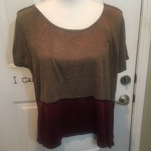 Free People Cropped 2 color Short Sleeve Top Sz XS